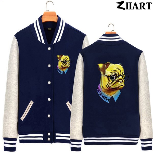 dog i'm so happy vintage colorful glass depression mood man boys full zip autumn winter fleece baseball jackets ziiart