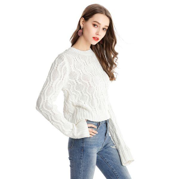 Kenancy Stereoscopic Pattern Design Oansatz Pullover Frauen Pullover Gestrickte Lässige Pullover Frauen Pullover Herbst Langarm Mantel