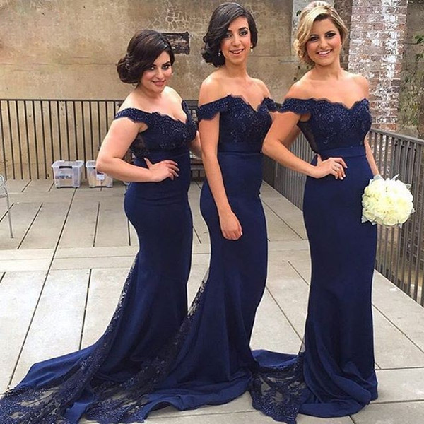 2018 New Coming Navy Blue Mermaid Beautiful Evening Dresses Off Shoulder Prom Dresses Formal Party Gowns