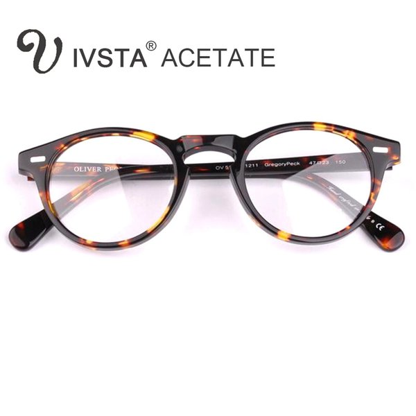 IVSTA Oliver Peoples OV5186 Handmade Real Acetate Frames Cat Eye Glasses Gregory Peck Round Women Optical Demi Prescription Tortoise CE FDA