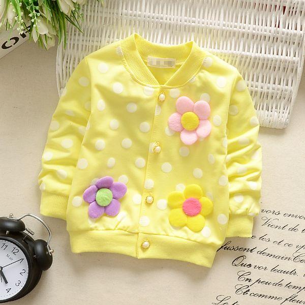 Envío gratis 2018 spirng otoño nuevo cordón de la rebeca del arco de la muchacha de los niños bebé de manga larga T-shirt coat