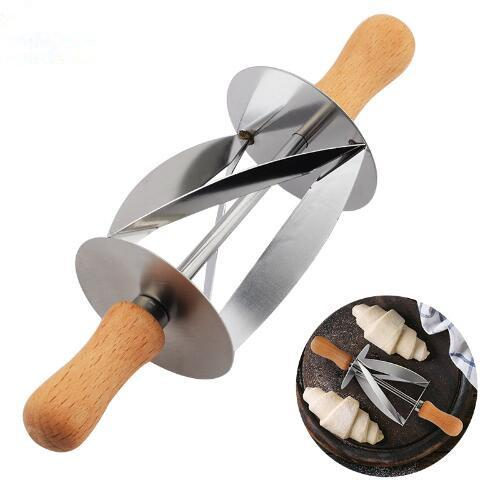 Stainless Steel Rolling Cutter for Making Croissant Bread Wheel Dough Pastry Knife Wooden Handle baking Kitchen Tools DH087