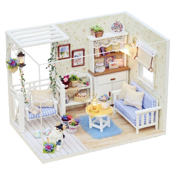 Creative DIY Doll House Furniture Miniature Dust Cover With Led 3D Wooden Dollhouse Gift Toys For Children Kitten Diary H013