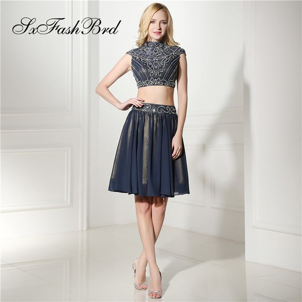 Fashion Elegant High Neck With Beading Crop Top A Line Mini Short Navy Blue Chiffon Party Formal Evening Dresses for Women Prom Dress