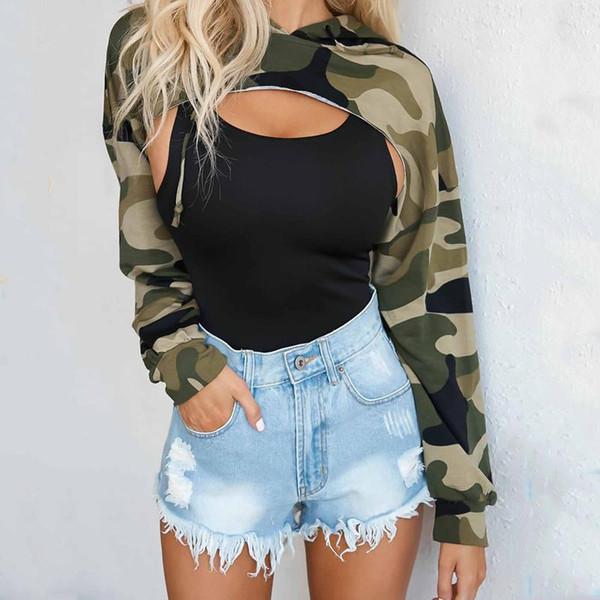 UK Sweatshirts Womens Crop Hoodie Long Sleeve Top Jumper Hooded Pullover Casual Sweatshirt Camo Tops
