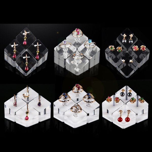 Acrylic Jewelry Showcase Display Ring Earring Pendant Charm Prop Stand for Boutique Shop Counter Jewellery Exhibition Organizer Set of 4
