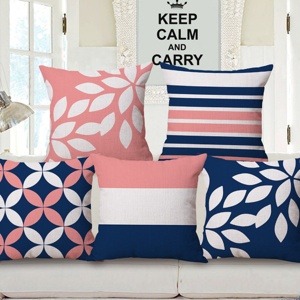 Fundas de cojines de color rosado y azul oscuro Triángulos geométricos modernos Cuadros Rayas Funda de cojín floral Funda de almohada de algodón de lino decorativo