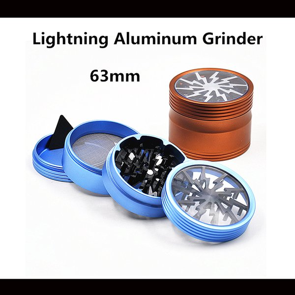 New Style Top Window 4 Layers Lightning Grinders 63mm Aluminum 3 Colors Available High Quality Free Shipping DHL