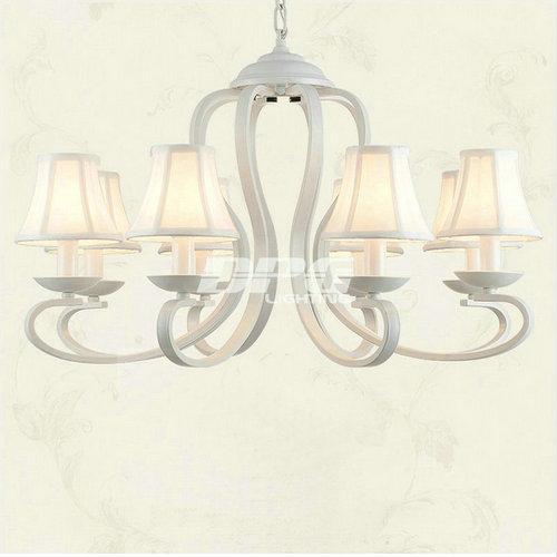 Weiß Stoff Schatten Eisen Kronleuchter Leuchten Luminaria Lüster Decke  Kronleuchter E14 Licht Für Schlafzimmer Wohnzimmer Lampe