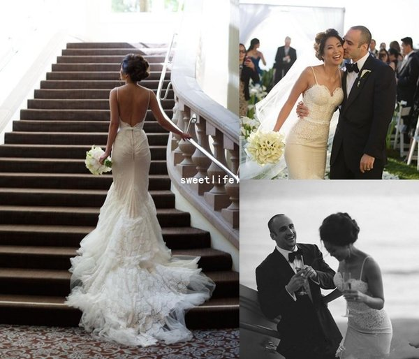 2019 Elegant Backless Wedding Dresses Tulle Spaghetti-Strap Mermaid Sweep-Train Fitted Lace Appliques Bohemian Beach Style Bridal Gown