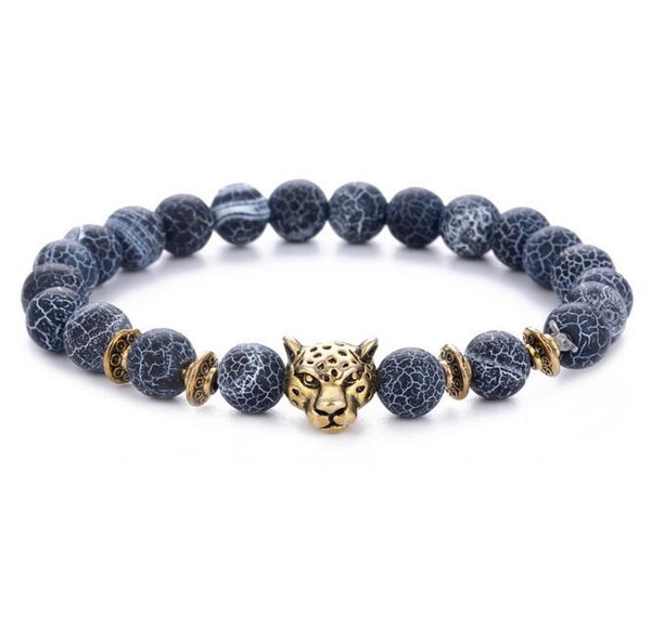 JLN Leopard Power Beads Bracelet Lava Weathering Agate Gold Sand Gemstone Beaded Stretch Couple Bracelet For Man Woman
