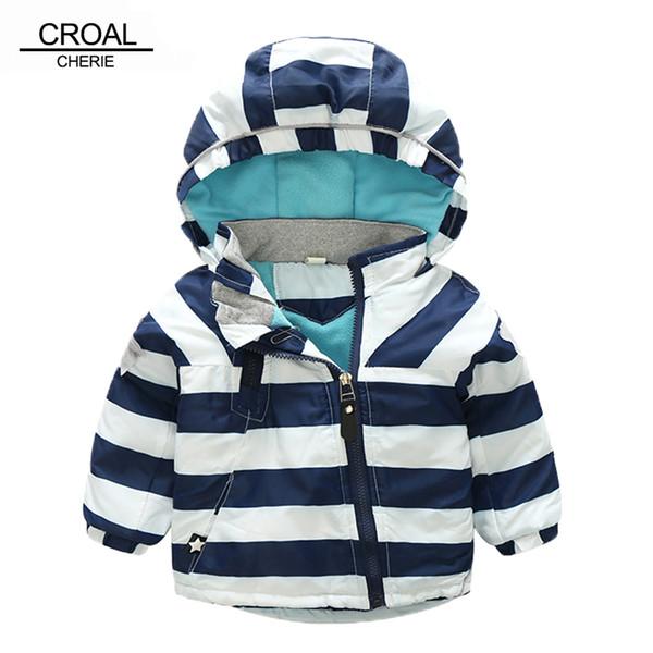 CROAL CHERIE 80-120 cm Moda Yıldız Rüzgar Geçirmez Çizgili Ceket Boys Için Kış Ceket Kızlar Için çocuk Kış Kadife Giysileri