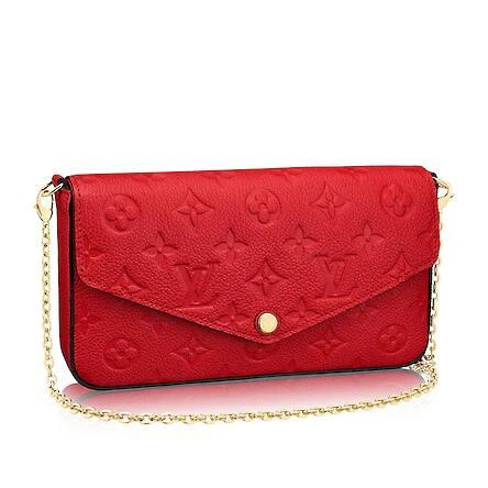 2019 M64065 POCHETTE FÉLICIE Embossing red Real Caviar Lambskin Chain Flap Bag LONG CHAIN WALLETS KEY CARD HOLDERS PURSE CLUTCHES EVENING