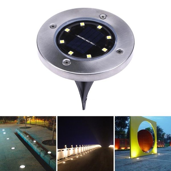 top popular Solar Powered 8 LED Lighting Buried Ground Underground Light for Outdoor Path Garden Lawn Landscape Decoration Lamp 2019