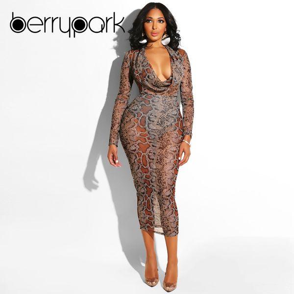BerryPark Snake Skin Print Midi Dress 2019 Winter Women Snakeskin Sexy Mesh Long Sleeve Bodycon Dress Female Party Club Vestidos