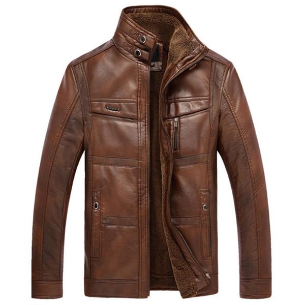 Wholesale- Thick Sheep Skin Motorcycle Leather Jacket Men 2017 Bomber Male Jacket Coat Casual Jaqueta De Couro Masculina Casaco Masculino
