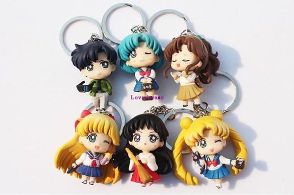 Free Shipping 6pcs/set Q Verison Sailor Moon Keychain Pendant Tsukino Usagi Sailor Mars Jupiter Venus Mercury Tuxedo Figure Toys PVC Dolls