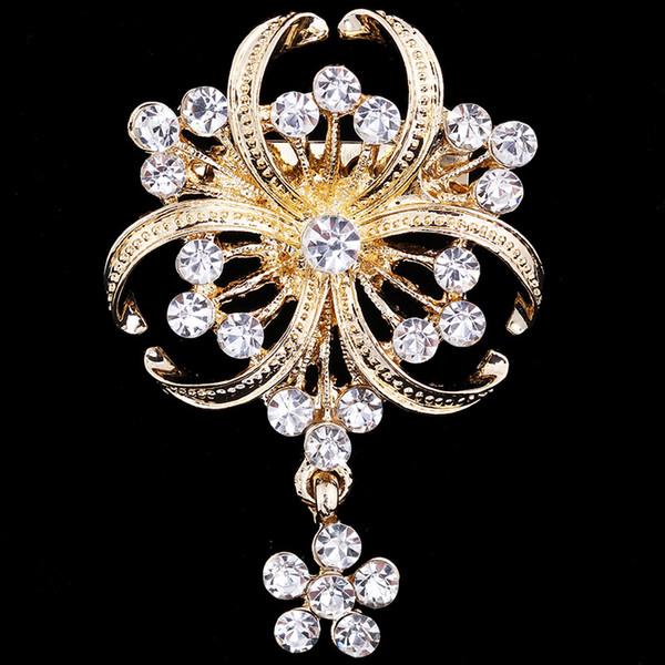 Alliage Strass Fleur Design Broche Écharpe Clip Boucle Broches Fashion Jewelry