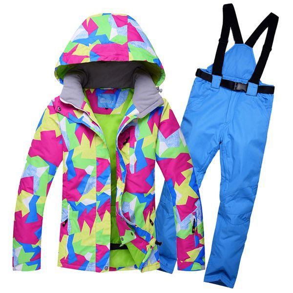 snow ski suit women waterproof windproof breathable outdoor female ski snowboarding jacket and pants set -30 degrees