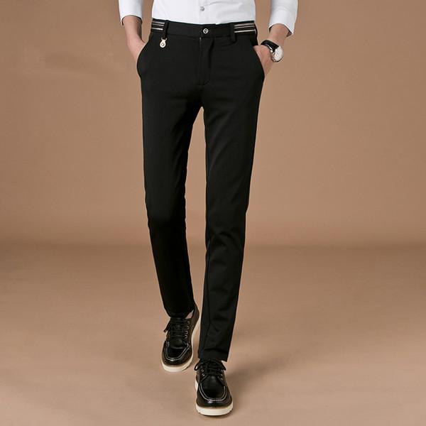 2017 Brand Fashion Slim Fit Suit Pants Mens New Designer Office Wedding Dress Men Black Blue Plus Size 38