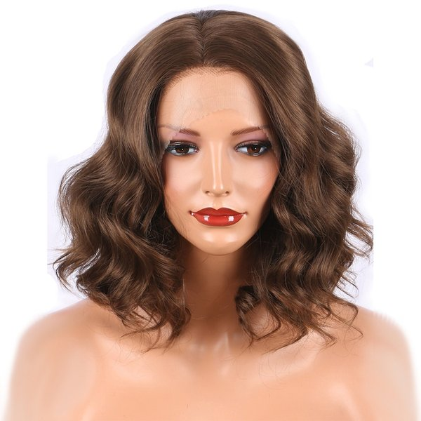 Short Brown Bob Wig Synthetic Lace Front