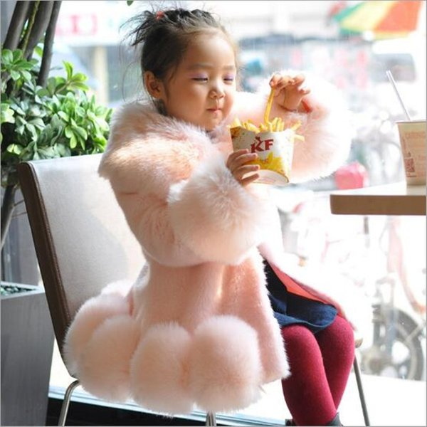 Furry Girls 2018 Autumn Winter Baby Faux Fox Fur Coats Jackets Winter Warm Kids Thicker Infant Princess Infant Outerwear