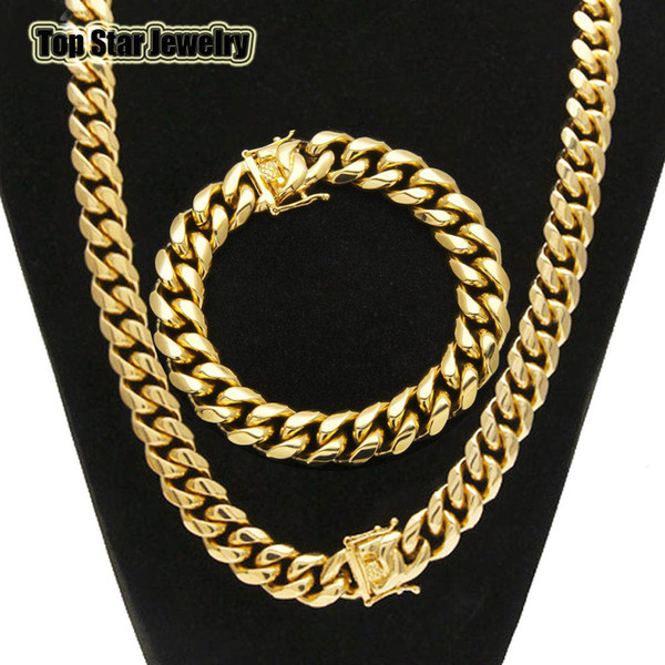top popular High Quality Stainless Steel Jewelry Sets 18K Gold Plated Dragon Latch Clasp Cuban Link Necklace & Bracelets For Mens Curb Chain 1.4cm Wide 2020