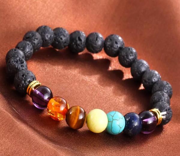Free DHL Lava Volcanic Stone 7 Chakra Bracelet Natural Yoga Stone Bracelets Healing Reiki Prayer Energy Buddha Beads Bracelet B124S F