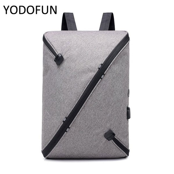 Iş Erkek Sırt Çantası İşlevli USB Şarj Kişilik Diyagonal Fermuar Dizüstü Rahat Sırt Çantaları Erkek Için 27 * 12 * 44 cm