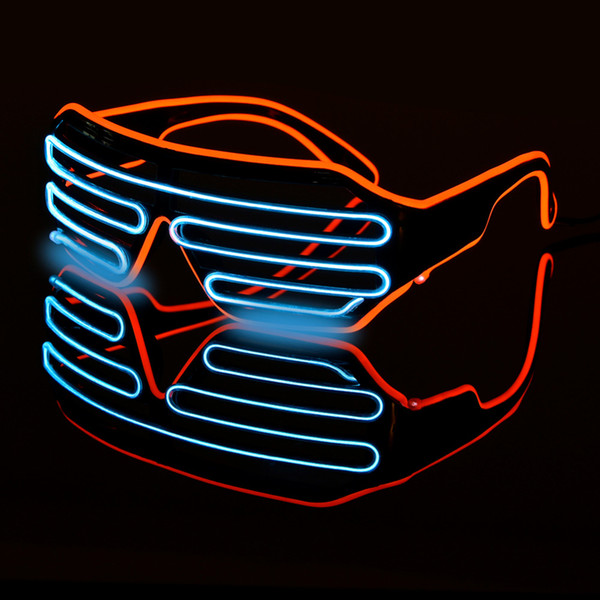 LED Double-colored Flashing Eyeglass Party Wire LED Light Glasses Halloween Fluorescent Luminous Glowing Glasses Party Decorations