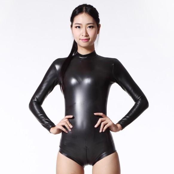Latex Sexy Body Catsuit Thong corpo ternos para Mulheres manga comprida Clube desgaste Corpos Noite Dance Wear estilo exótico