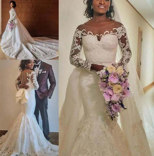 Más el tamaño sirena Vestidos de novia de encaje africano 2019 Tren desmontable Perlas de cuentas Nigeria Sobretodo árabe Vestidos de novia con gran Bowknot