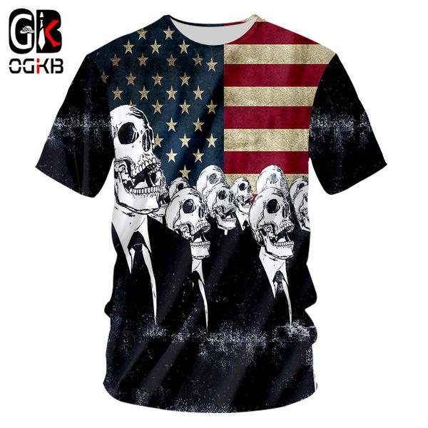 OGKB New Dropship Cool Printing American Flag Skull 3d Tshirt For Men/women's Casual T-shirt Homme Punk O Neck Tee Shirts 7XL