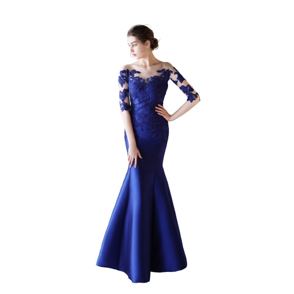 Half Sleeves Satin Mermaid Evening Dresses with Lace Appliques 2019 Sheer Neck Long Evening Gowns Button Back Prom Dresses Royal Blue