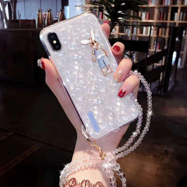 Crystal Rabbit TPU Soft Shell Back Cover Phone Case Coque for iPhone 6 6S 7 8 X hot sell #202