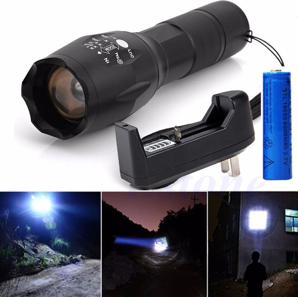 Portable 3800LM Camping Flashlight Rechargeable Cree XML T6 LED Tactical Torch Zoomable 5 Modes + 18650 Battery + Charger