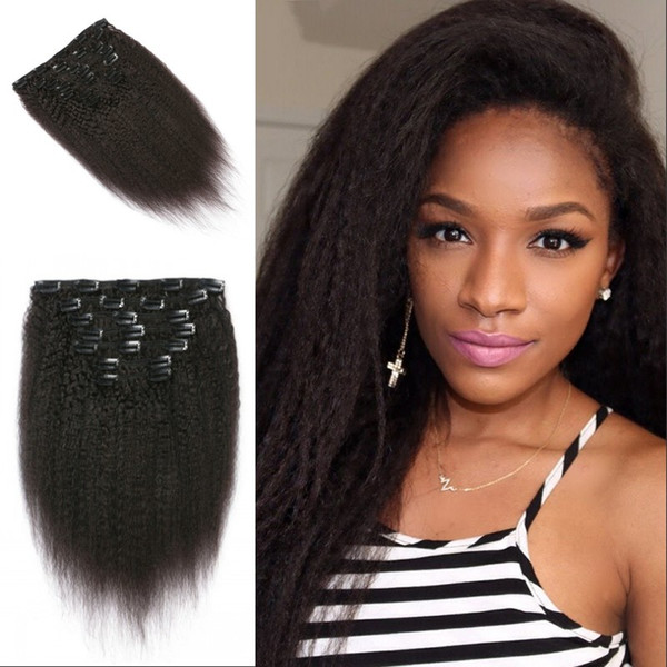 Kinky Straight 8-24inch 7pcs/set Clip In Human Hair Extensions Brazilian Peruvian Virgin Human Hair Hot Sale G-EASY