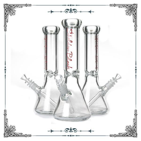 9MM thick Sheldon Black Glass Bong perc Clear bottom waterpipes Beaker bongs water pipes percolator beaker base hookah hose free shipping