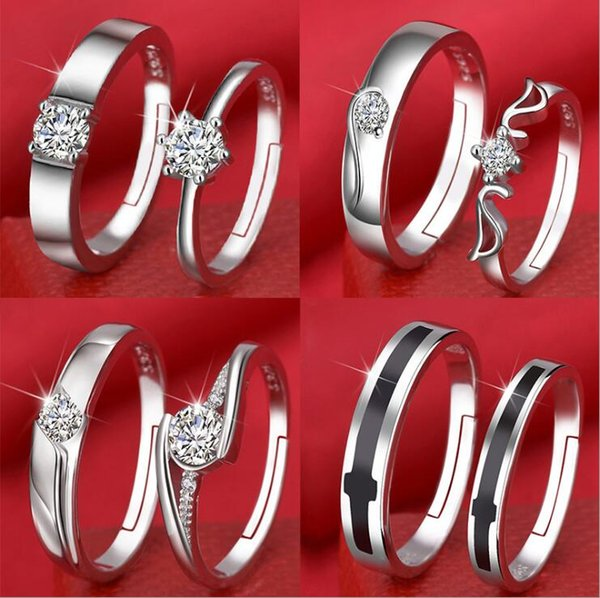 New style opening couples ring female Korean zircon six-claw crown for Women Men Wedding Jewelry Gift with box free shipping