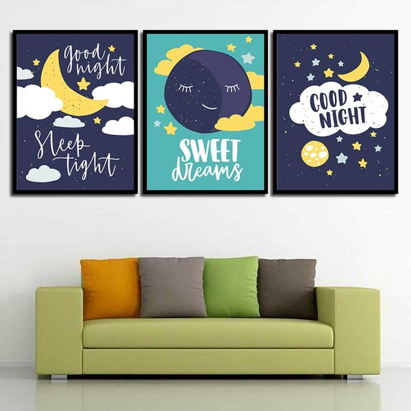 Nordic Style Wall Art Print HD Canvas Cartoon Moon Sweet Sun Star Poster Painting Pop Pictures For Living Room Home Decor
