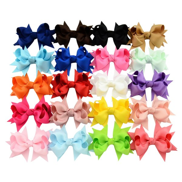 top popular 3 inch Baby Bow Hairpins Mini Swallowtail Bows Hair grips children Girls Solid Hair Clips Kids Hair Accessories 20 colors Barrettes C5000 2020