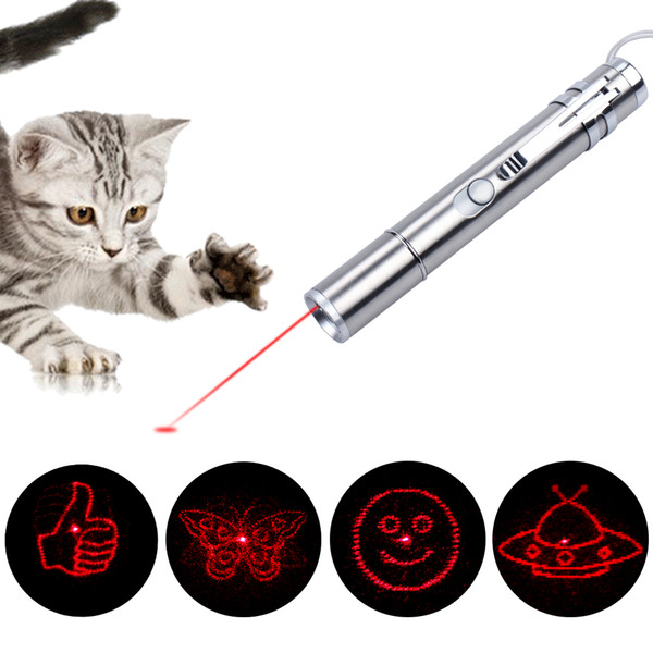 USB Stainless Steel Mini Rechargeable Laser Light LED Laser Multi-Pattern 3 In 1 Pet Training Toys USB Charging Cable Feather Mouse *1
