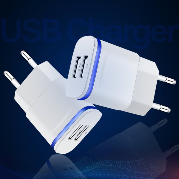 Euro Plug 5V 2.1A 2 USB Ports Smart Fast IC Wall Charger Power Adapter For iphone Samsung Huawei, Tab, tablet sony LED