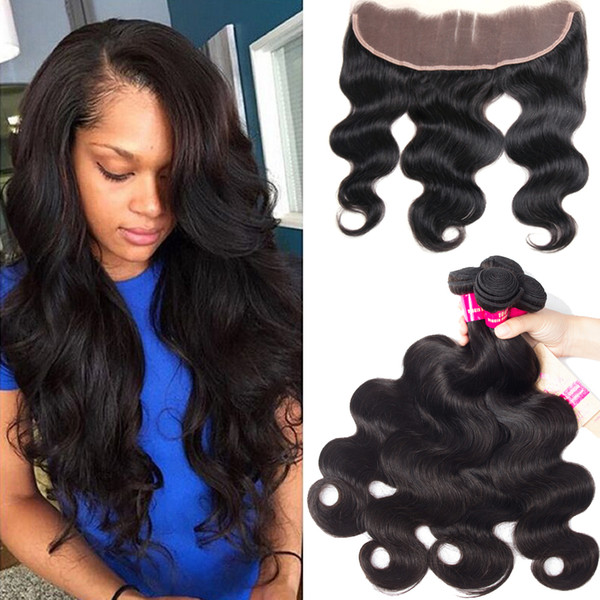 Brazilian Body Wave & Straight Loose Wave Deep Wave Curly 3 Bundles With 13X4 Ear To Ear Lace Closure 100% Brazilian Peruvian Malaysian Hair