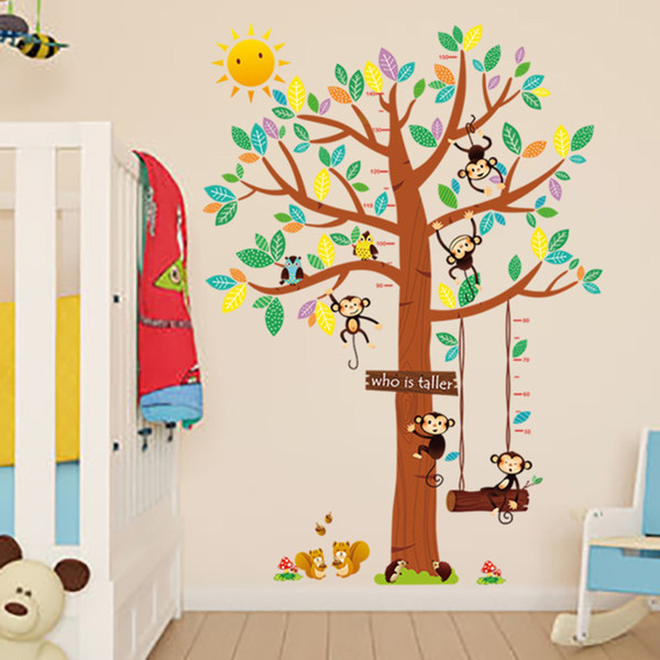 Large Family Tree Wall Stickers Kids Room Nursery Growth Chart Wall Mural Poster Art Height Ruler Self-adhesive Wall Appliques Wallpaper