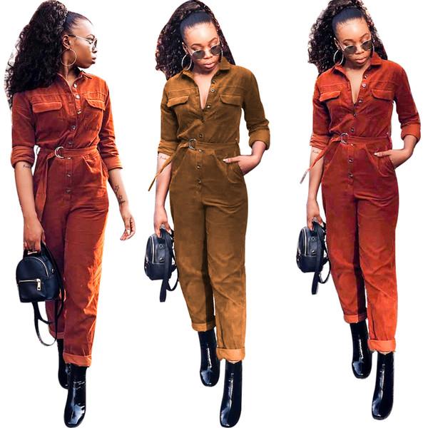 Damen Designer Cord Jumpsuits Langarm Strampler mit Schärpen Normallack kurze beiläufige Nachtclub Overalls Dame Herbst Winterkleidung