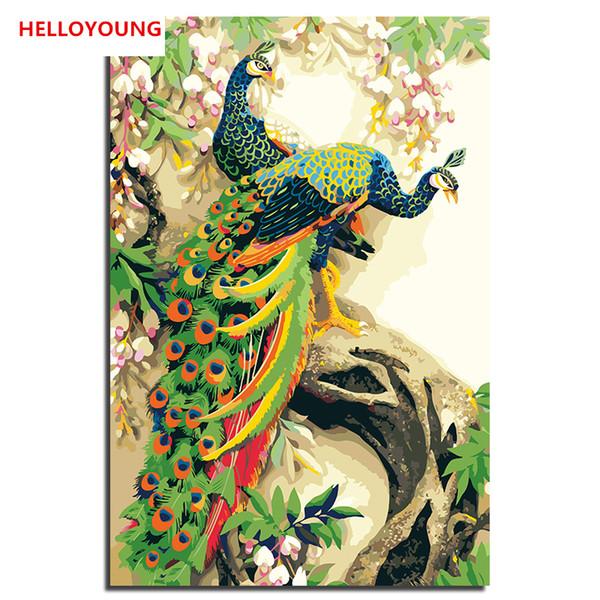 HELLOYOUNG Pintura digital dibujo de la imagen Pavo real tres por números pinturas al óleo pinturas en pergamino chino Decoración para el hogar