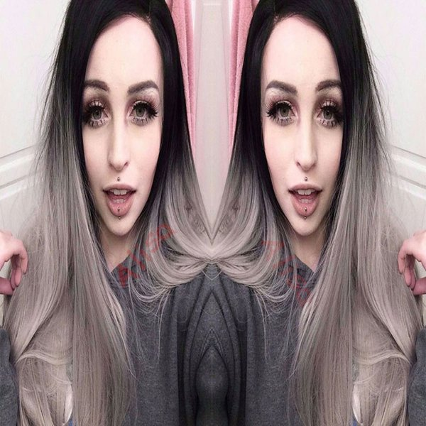 Synthetic Lace Front Wig Long Straight Grey Lace Front Wig Ombre Two-Tone Lace Front Wig Grey Ombre Wigs For Fashion Black Women