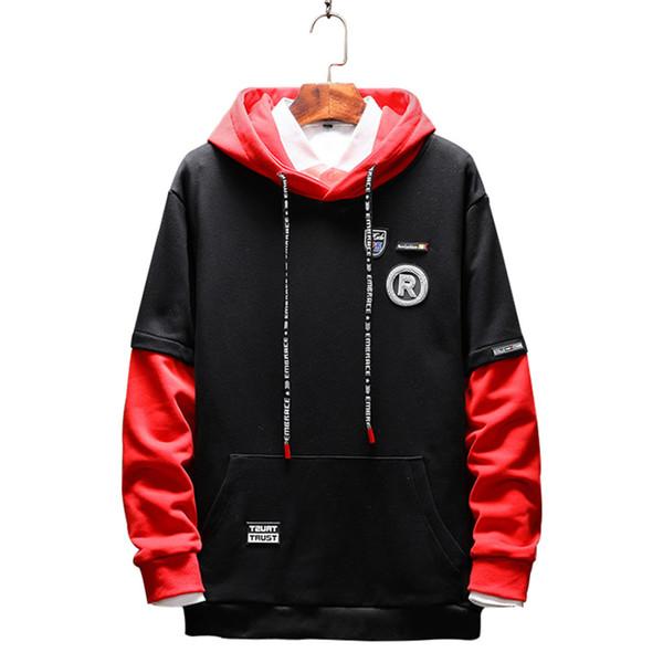 2018 New Fashion Patchwork Sweatshirts Automne Hot Print Sweat-shirts Avec Un Capuche Casual Pull Hoodies Hommes Plus La Taille 5XL M3-124