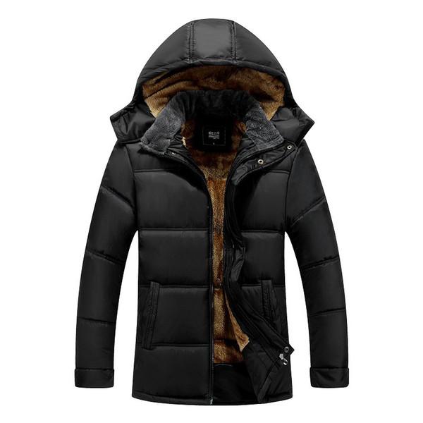 2018 Manteaux d'hiver Hommes Parkas coton chaud épais manteau de veste Courtes Noël Zipper vêtement noir Pardessus papa cadeau